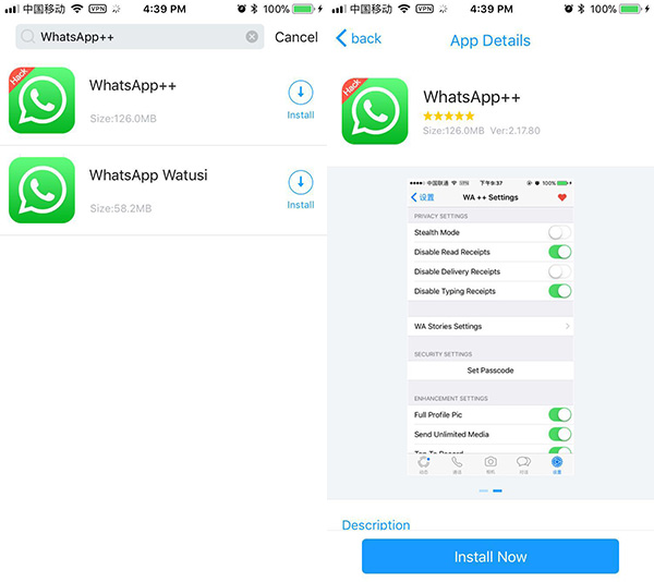 WhatsApp ++ on iOS