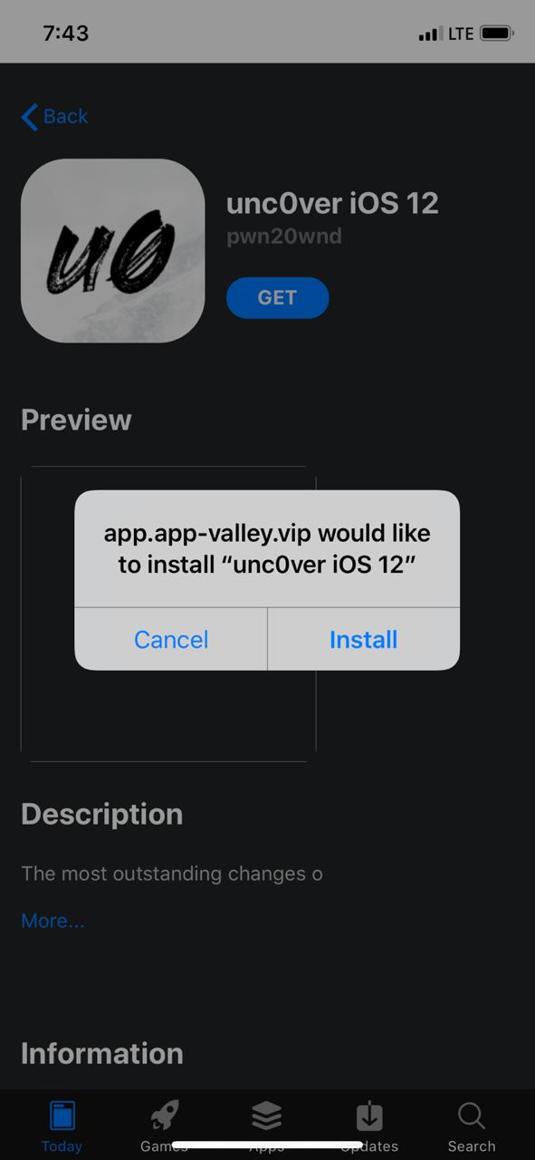 Download Unc0ver iOS 12 on (iPhone/iPad) With AppValley App