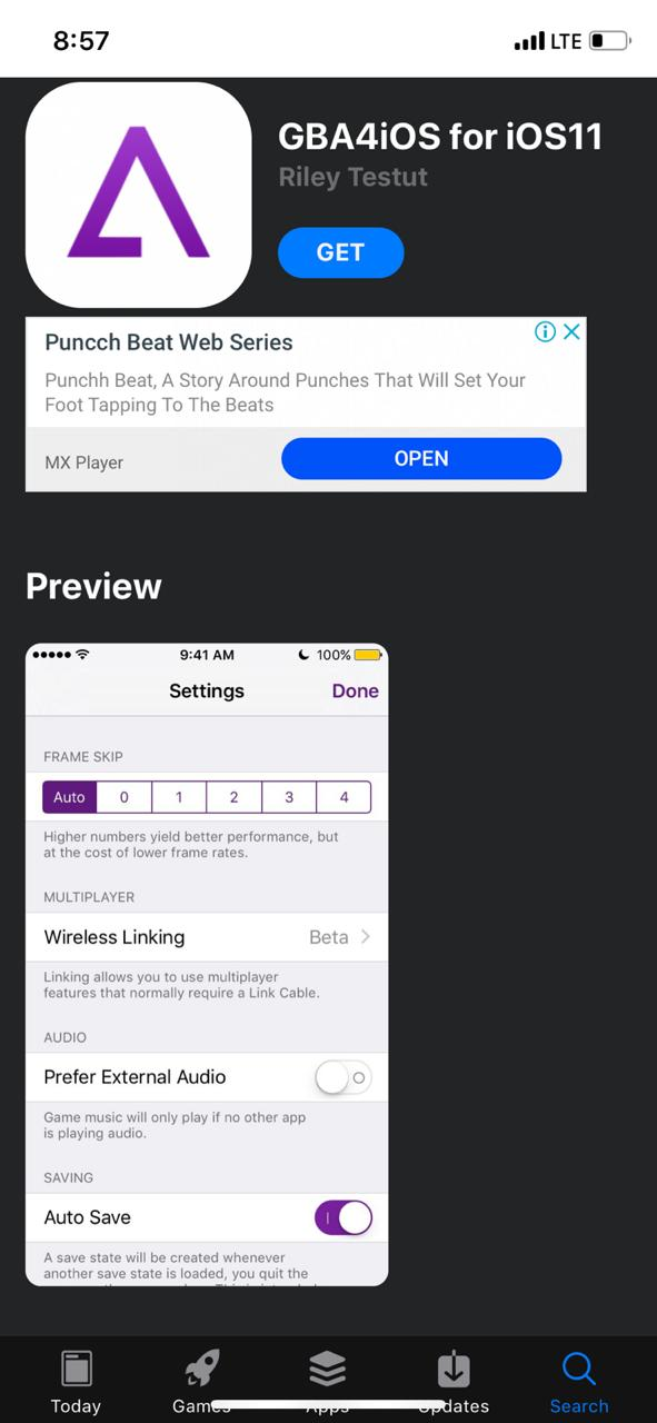 Latest GBA4iOS on iOS using AppValley