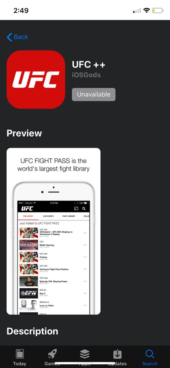 Download UFC++ on iOS using AppValley