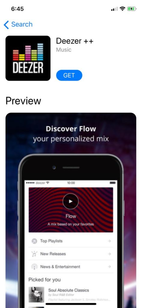 Deezer++ Music App on iOS