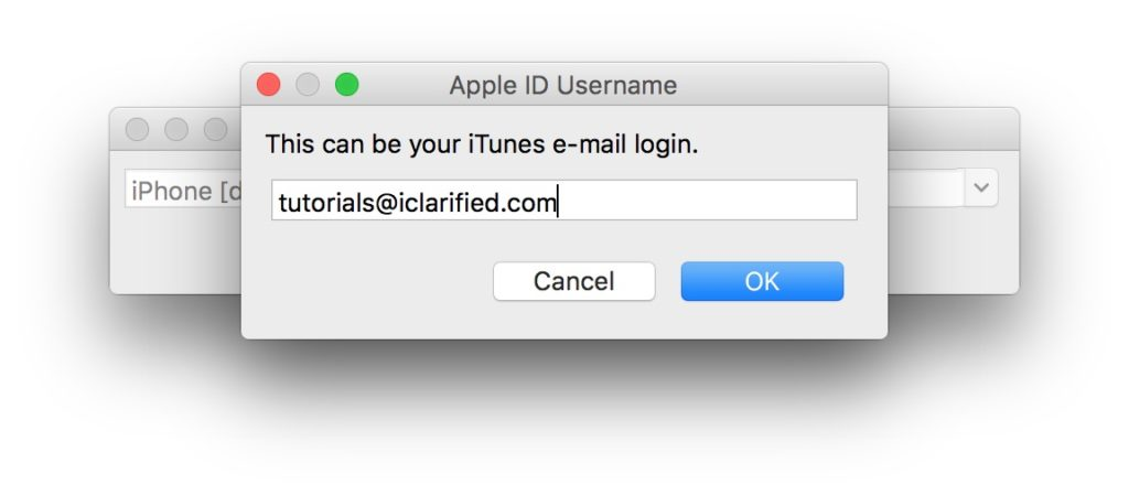 enter Apple ID and Password iOS