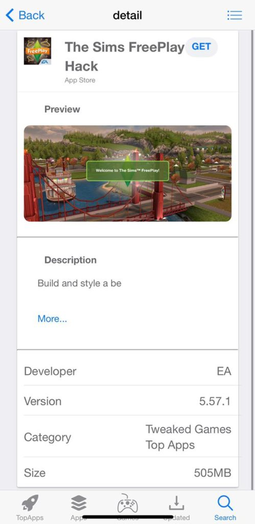 Sims FreePlay MOD click on get